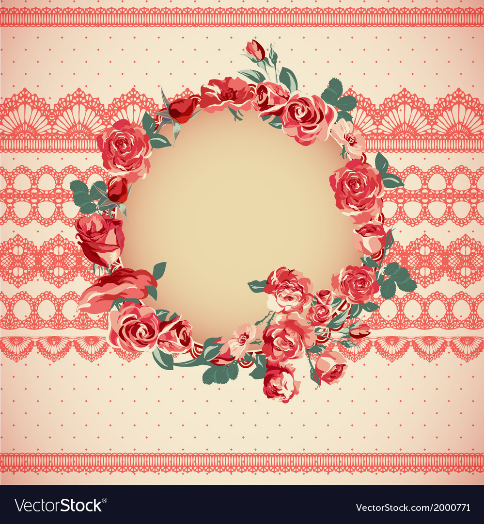 Vintage floral lace background with roses vector | Price: 1 Credit (USD $1)