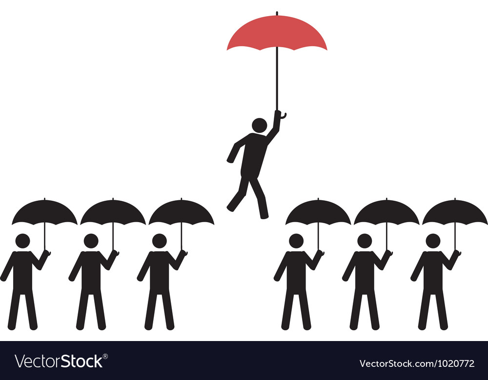 A person with red umbrella is picked vector | Price: 1 Credit (USD $1)