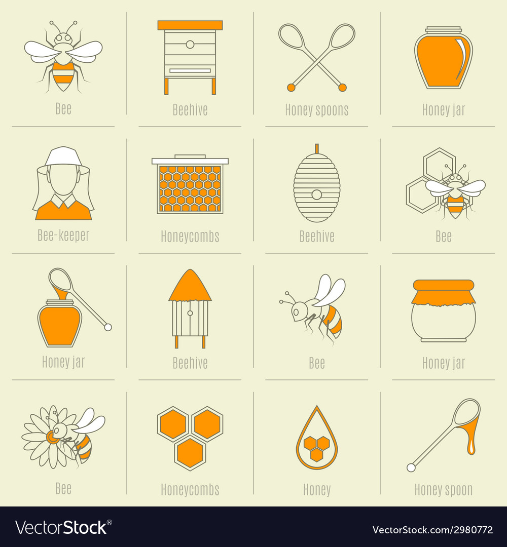 Bee honey icons flat line set vector | Price: 1 Credit (USD $1)