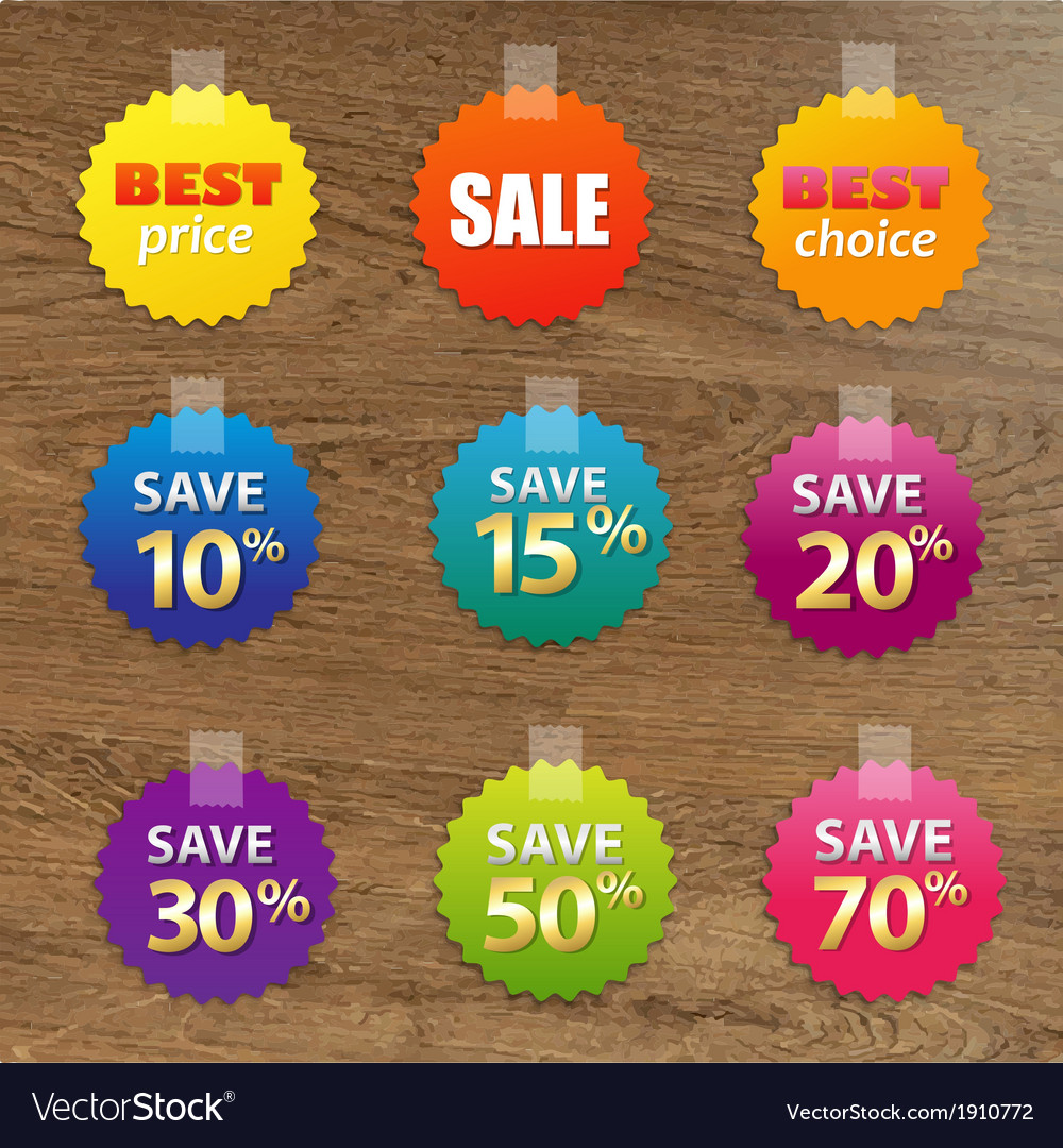 Big colorful sale tags vector | Price: 1 Credit (USD $1)