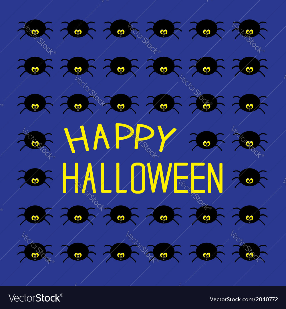 Black spiders happy halloween card vector   Price: 1 Credit (USD $1)