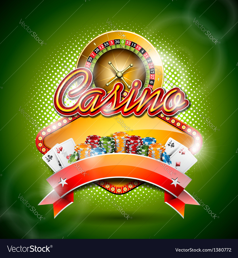 Casino with roulette wheel and ribbon vector | Price: 3 Credit (USD $3)