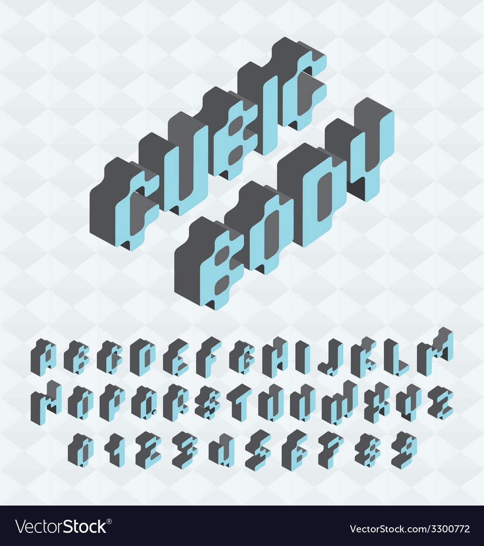 Cubic font big colorful letters standing vector | Price: 1 Credit (USD $1)