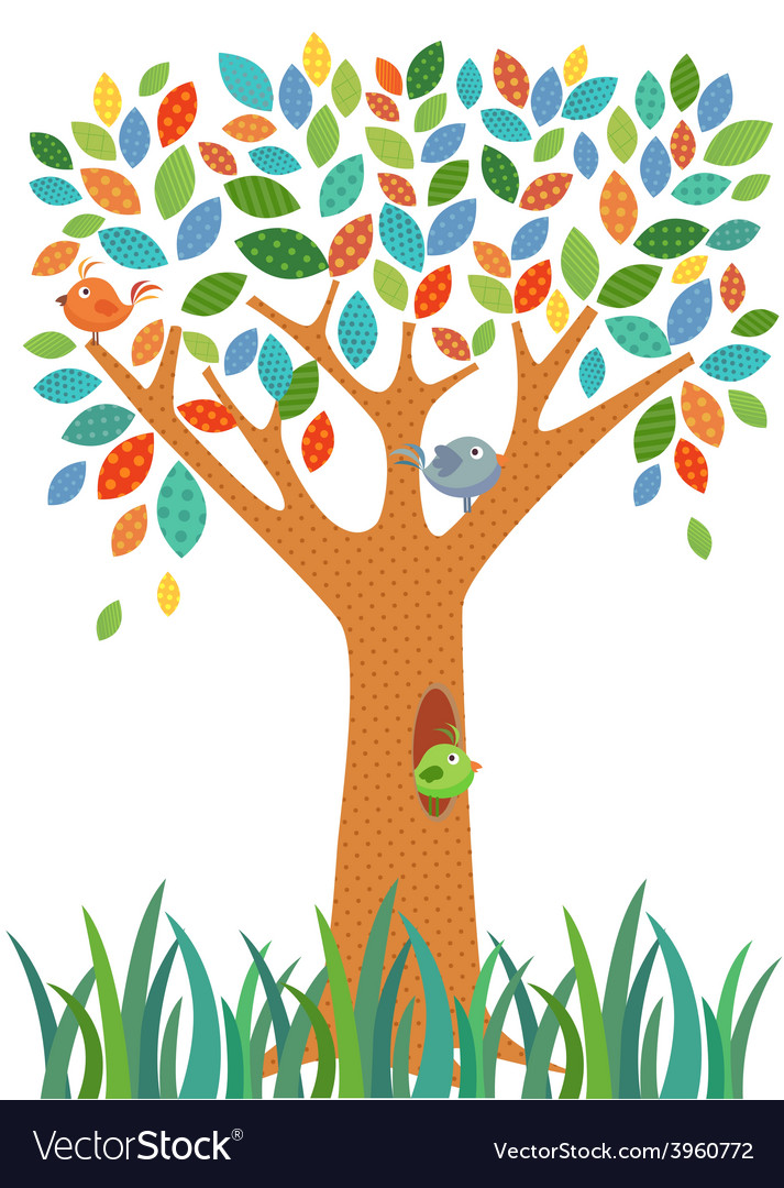 Fancy tree and little bird vector | Price: 1 Credit (USD $1)