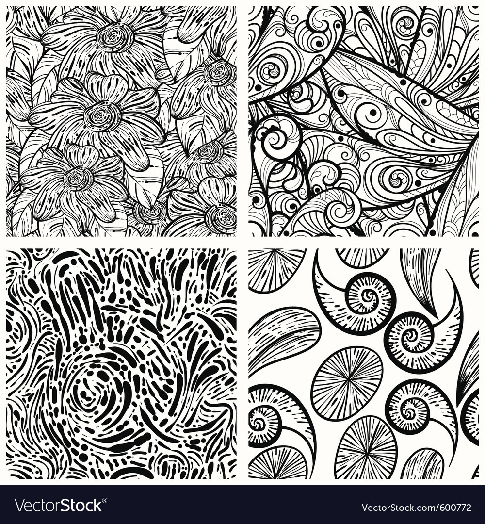 Four seamless monochrome patterns clipping masks vector | Price: 1 Credit (USD $1)