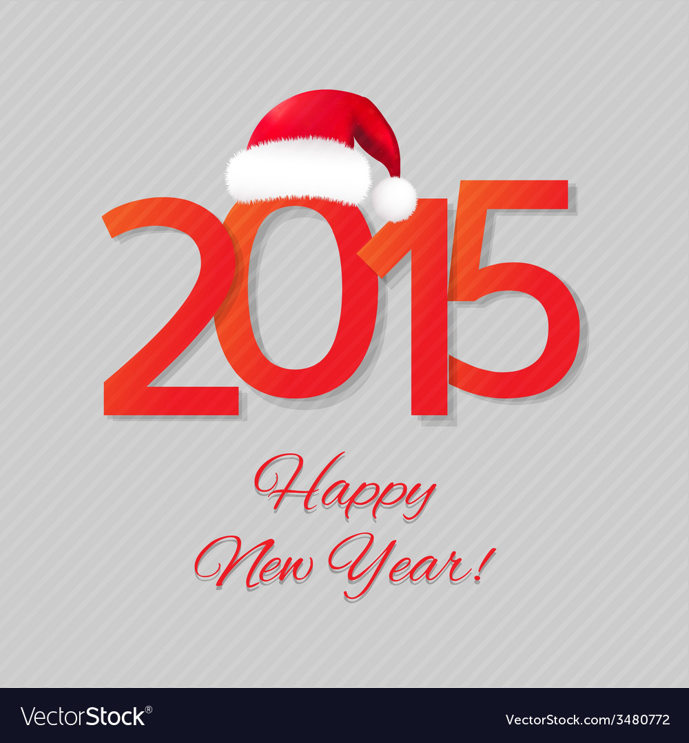 Happy new year card with santa hat vector | Price: 1 Credit (USD $1)