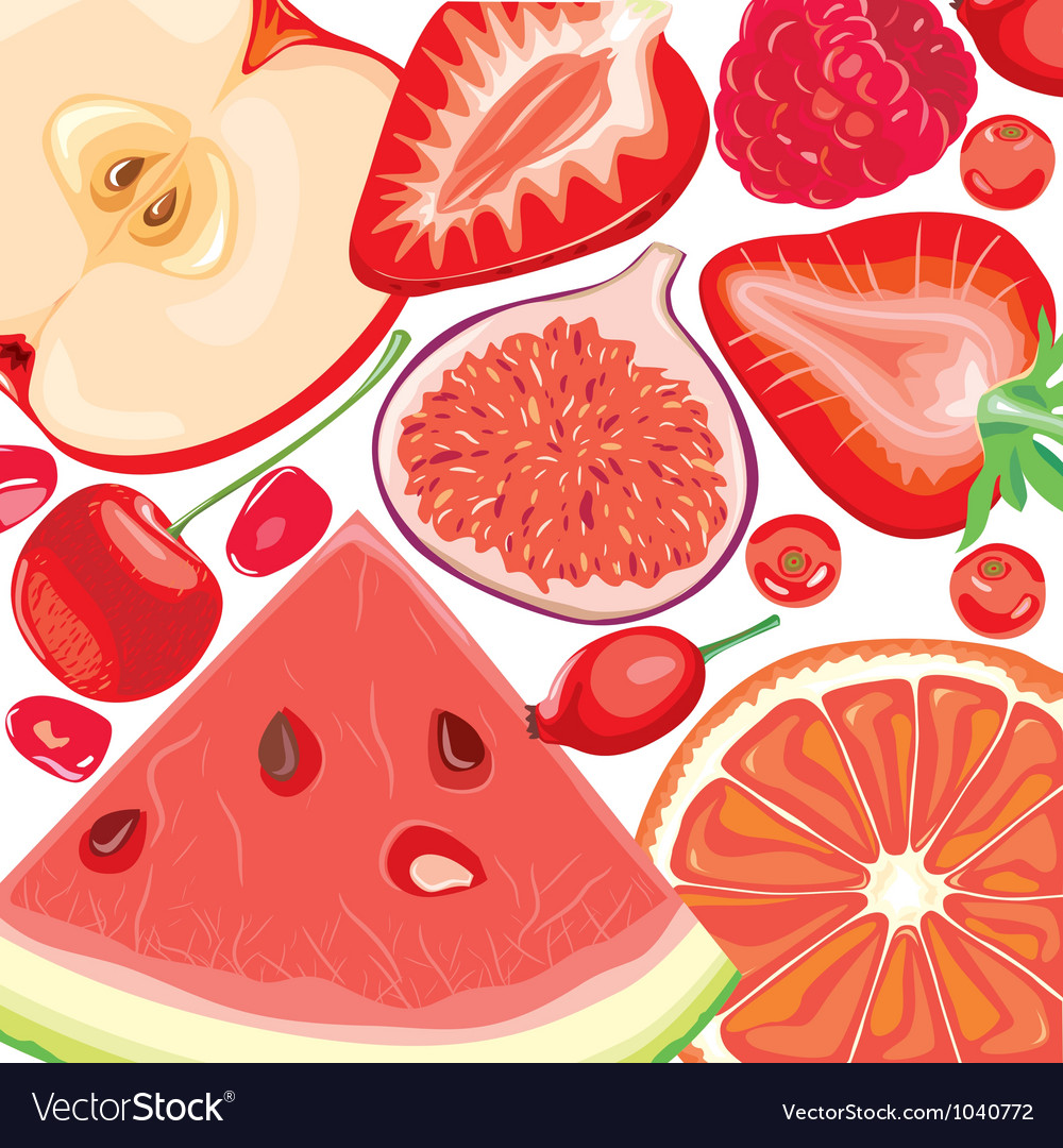 Mix red fruits and berries vector | Price: 3 Credit (USD $3)