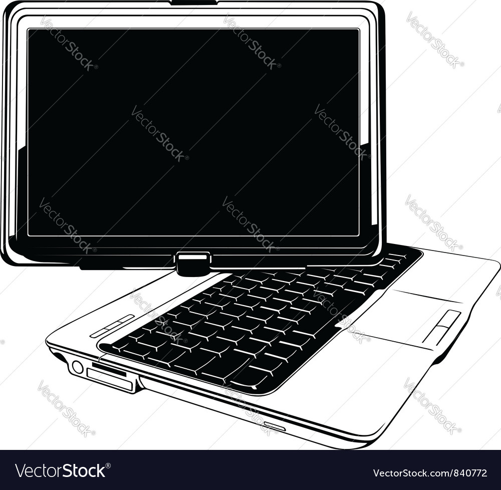 Touch screen laptop vector | Price: 1 Credit (USD $1)
