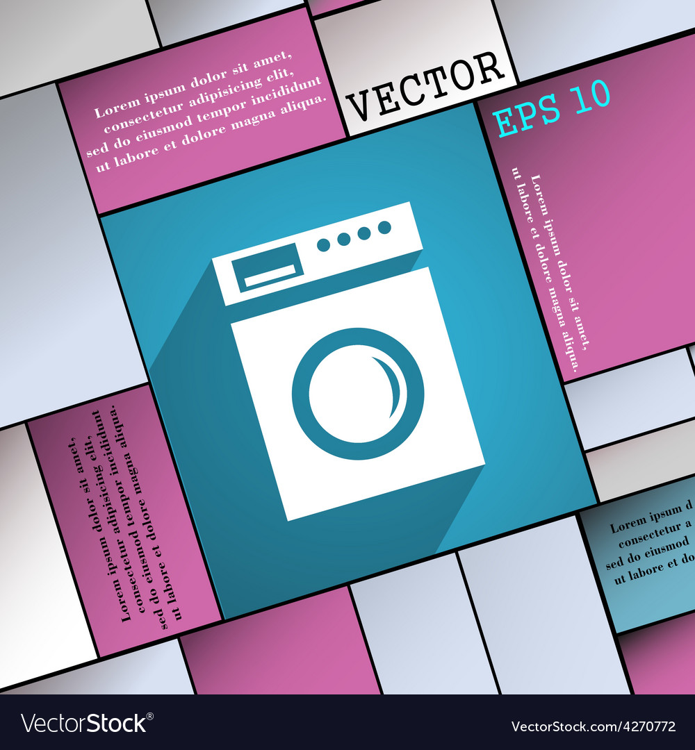 Washing machine icon symbol flat modern web design vector | Price: 1 Credit (USD $1)