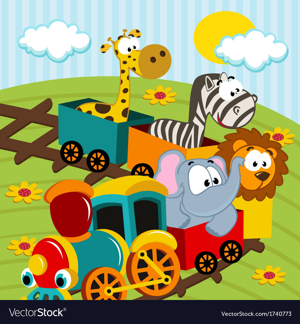 Animals by train vector | Price: 3 Credit (USD $3)