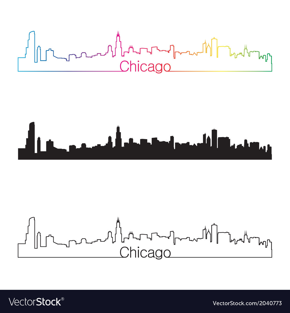 Chicago skyline linear style with rainbow vector | Price: 1 Credit (USD $1)