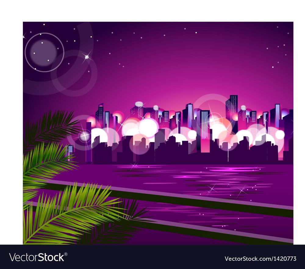 City skyline night vector | Price: 1 Credit (USD $1)