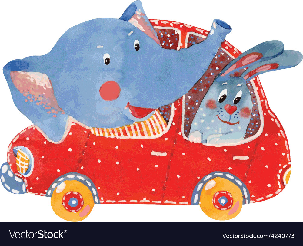 Elephant and hare in car vector | Price: 1 Credit (USD $1)