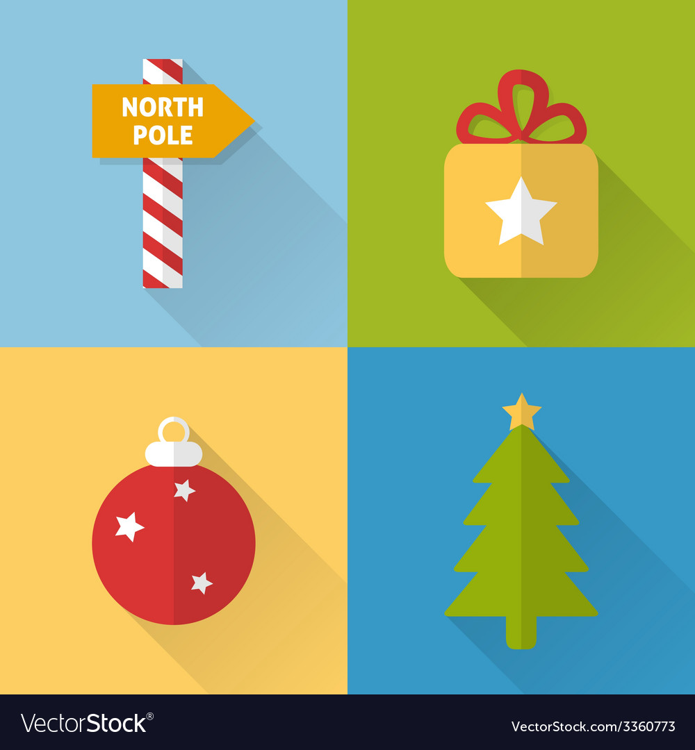 Flat christmas icons set vector | Price: 1 Credit (USD $1)