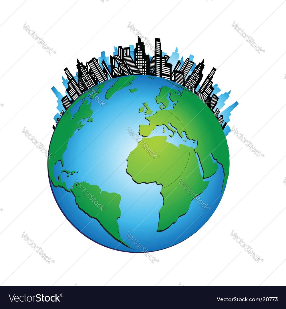 Globe cityscape vector