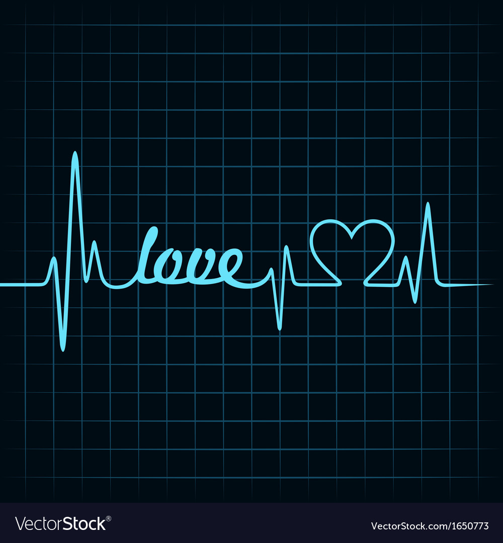 Heartbeat make a love text and heart symbol vector | Price: 1 Credit (USD $1)