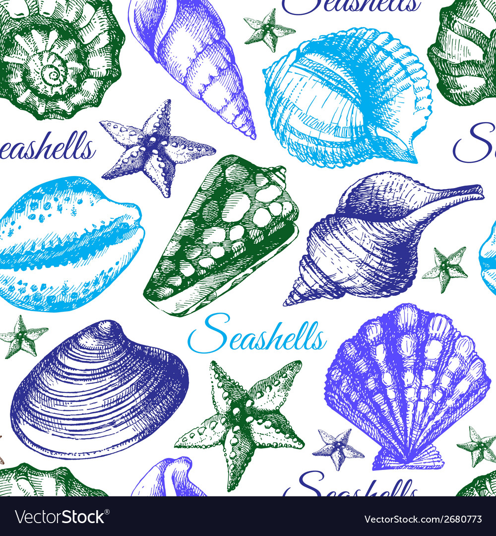 Seashell seamless pattern hand drawn sketch vector | Price: 1 Credit (USD $1)