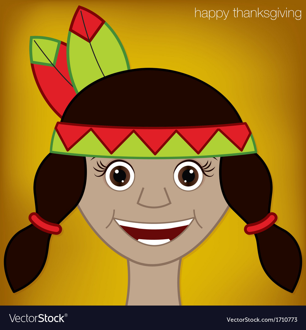 Thanksgiving american indian woman character in vector | Price: 1 Credit (USD $1)