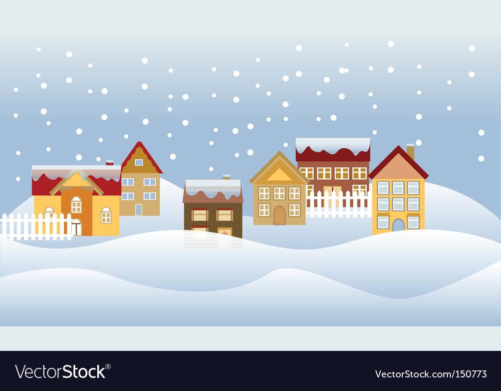 Winter cityscape vector | Price: 1 Credit (USD $1)