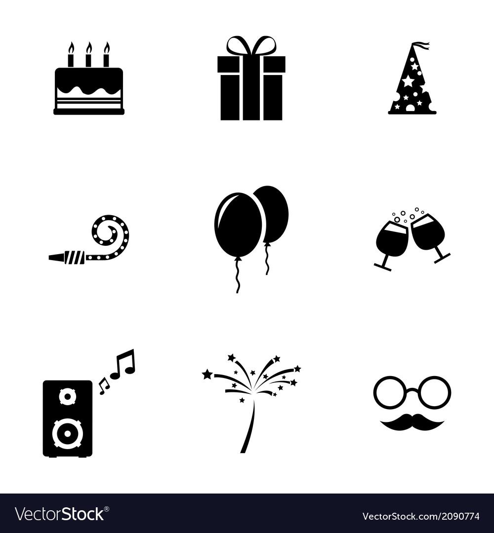 Black birthday icons set vector | Price: 1 Credit (USD $1)
