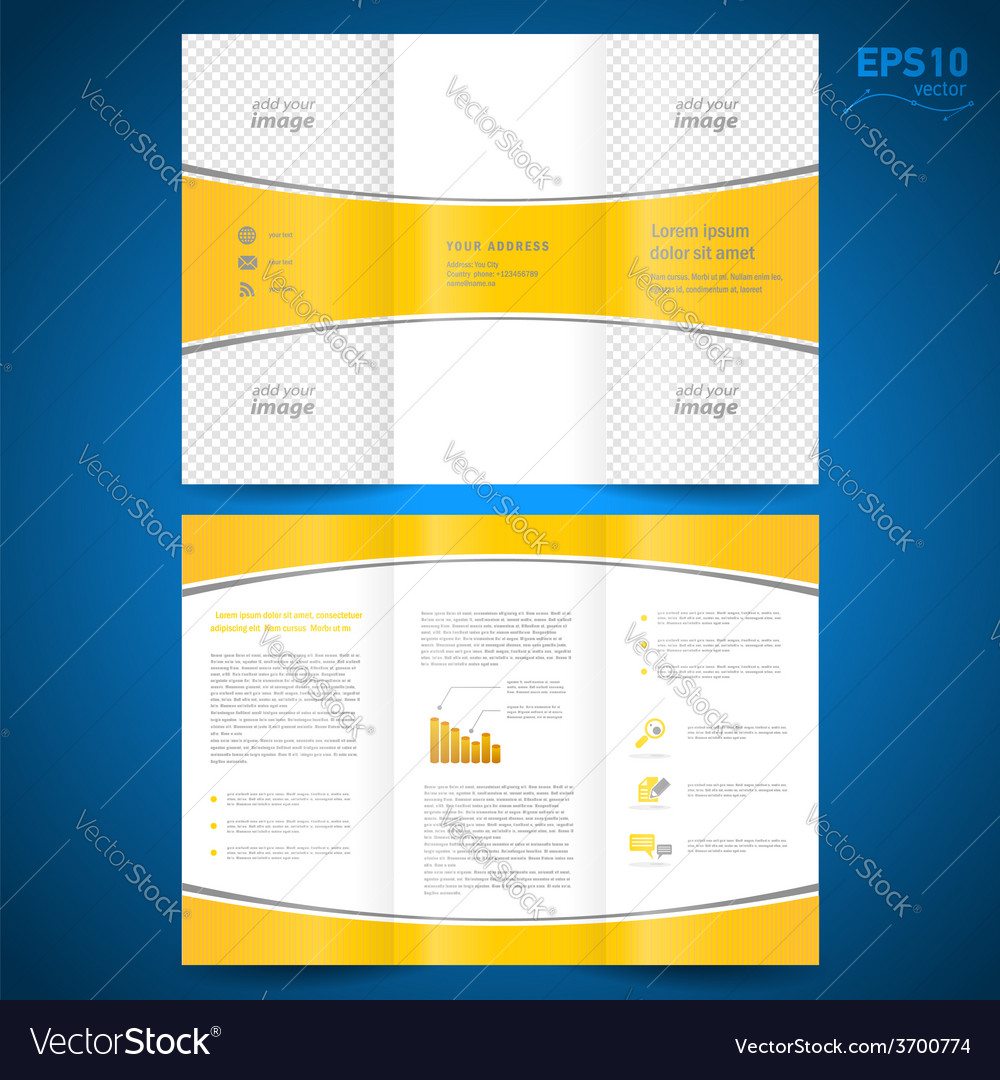 Brochure perspective yellow curve bend line white vector | Price: 1 Credit (USD $1)