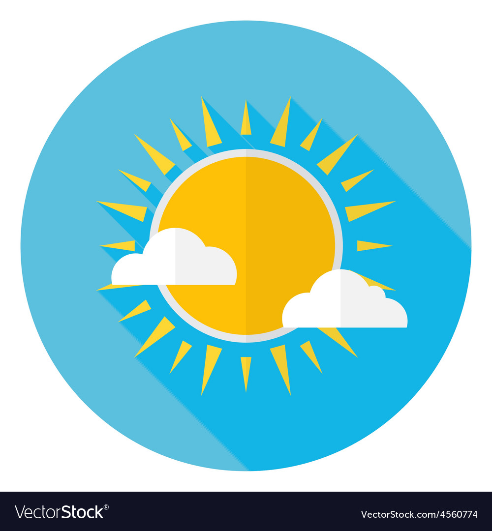 Flat sky sun and clouds circle icon with long vector | Price: 1 Credit (USD $1)
