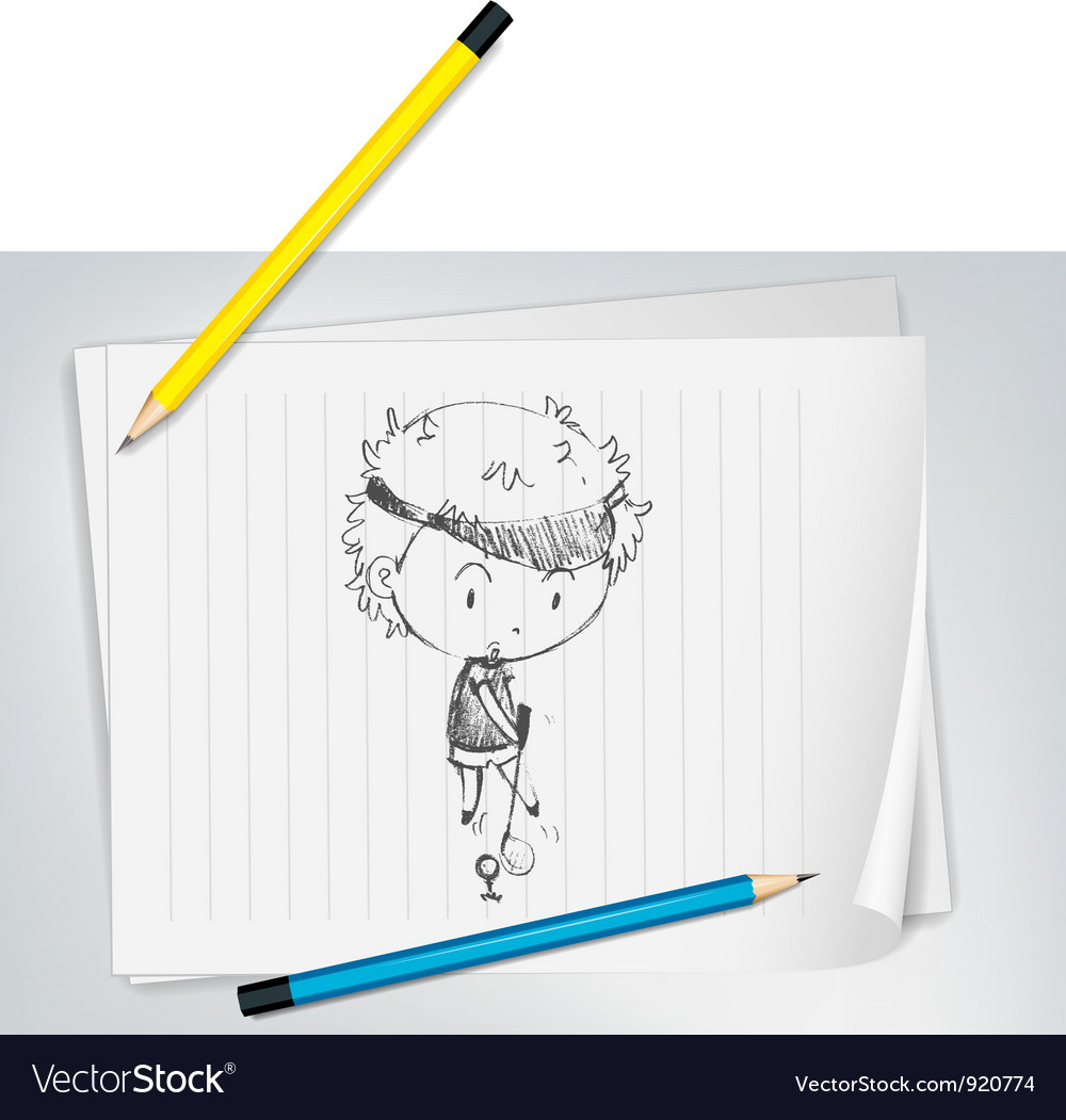 Golfer sketched on paper vector | Price: 3 Credit (USD $3)