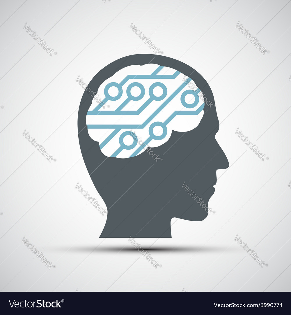 Icon of human head with a computer chip vector | Price: 1 Credit (USD $1)