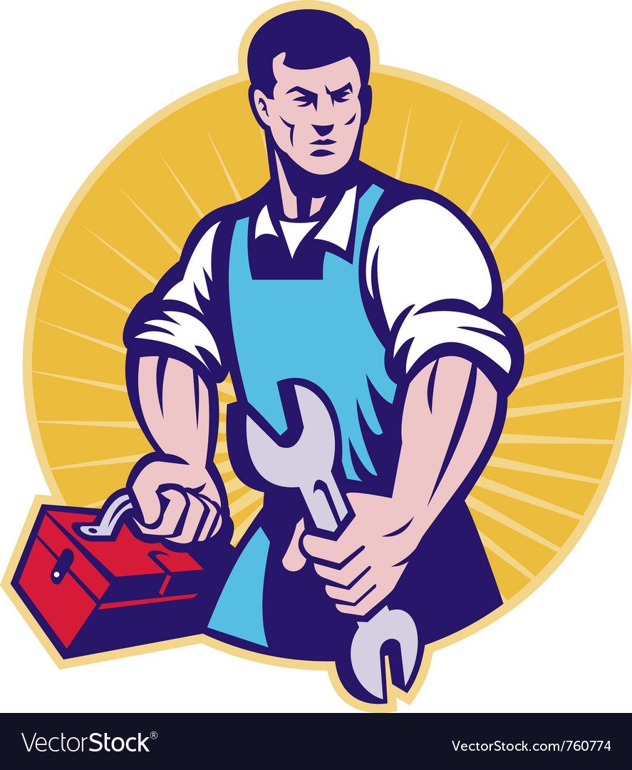 Mechanic tradesman worker spanner vector | Price: 1 Credit (USD $1)