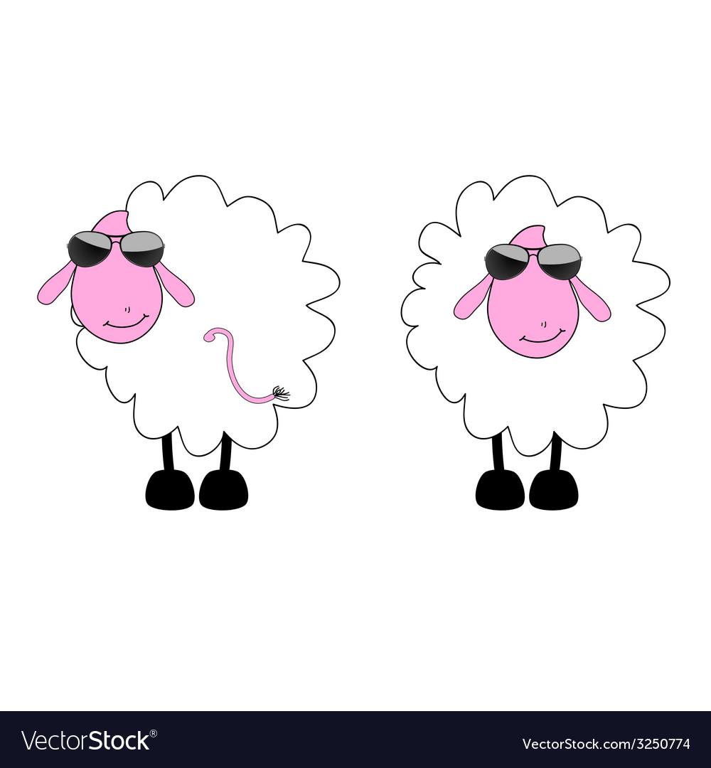 Sheep cartoon with sunglass vector | Price: 1 Credit (USD $1)