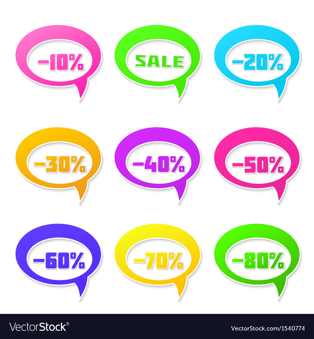 Speech bubbles set with discount message vector | Price: 1 Credit (USD $1)