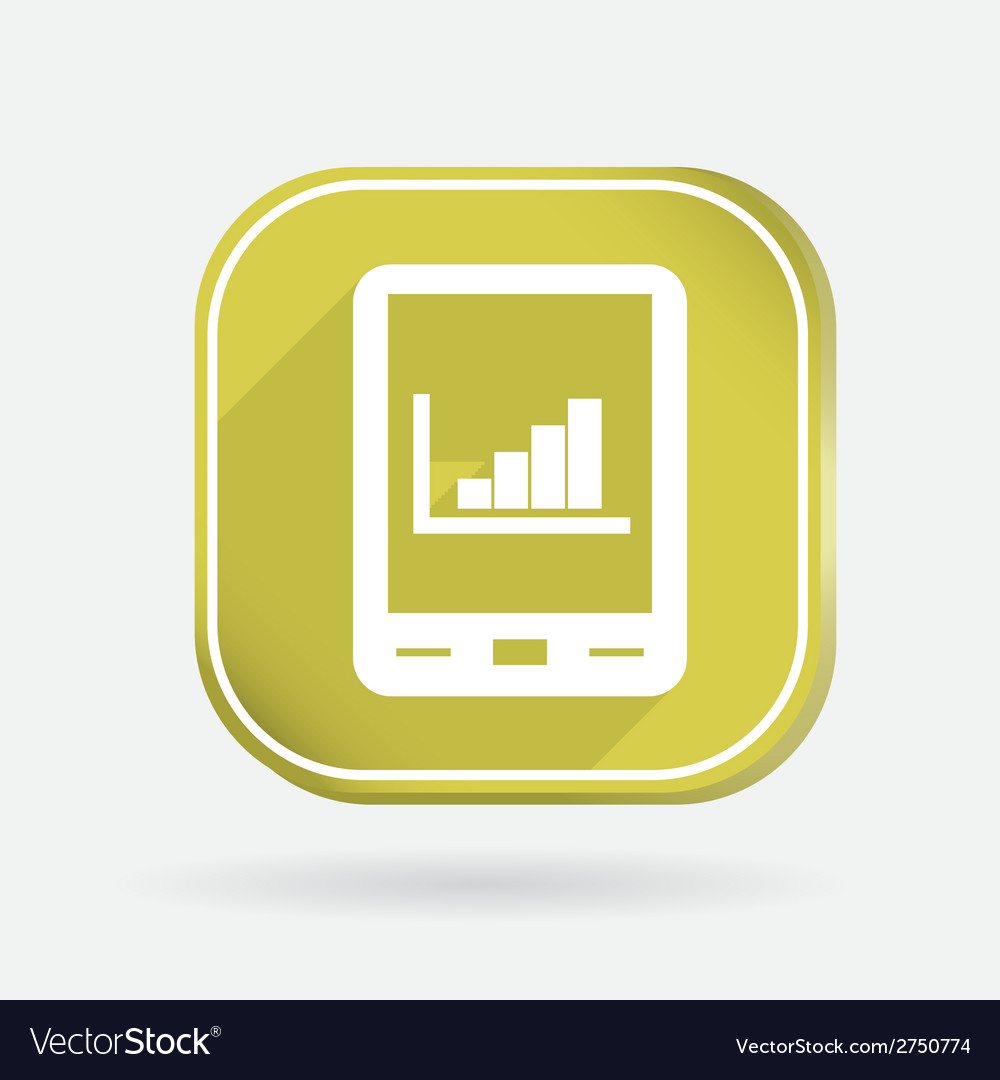 Tablet pad with diagram color square icon vector | Price: 1 Credit (USD $1)