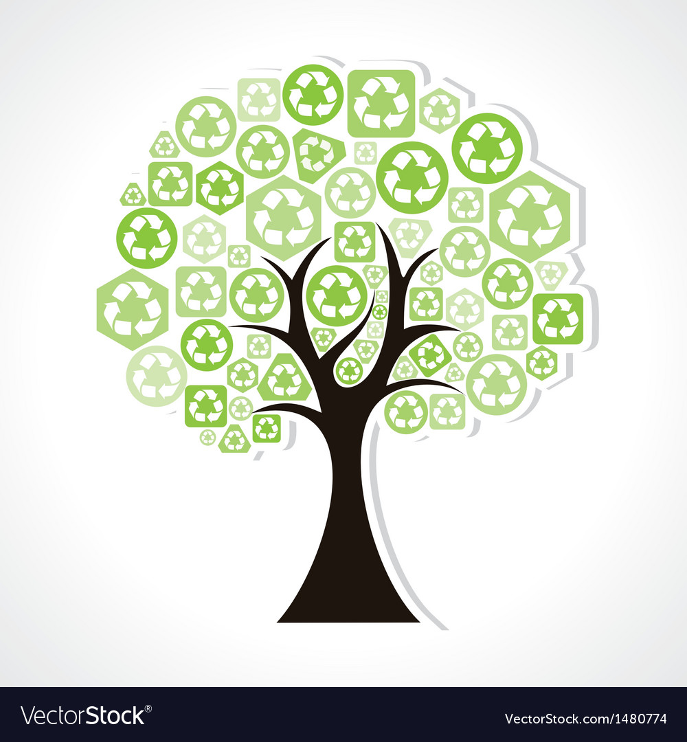 Tree forming by green recycle icons vector | Price: 1 Credit (USD $1)
