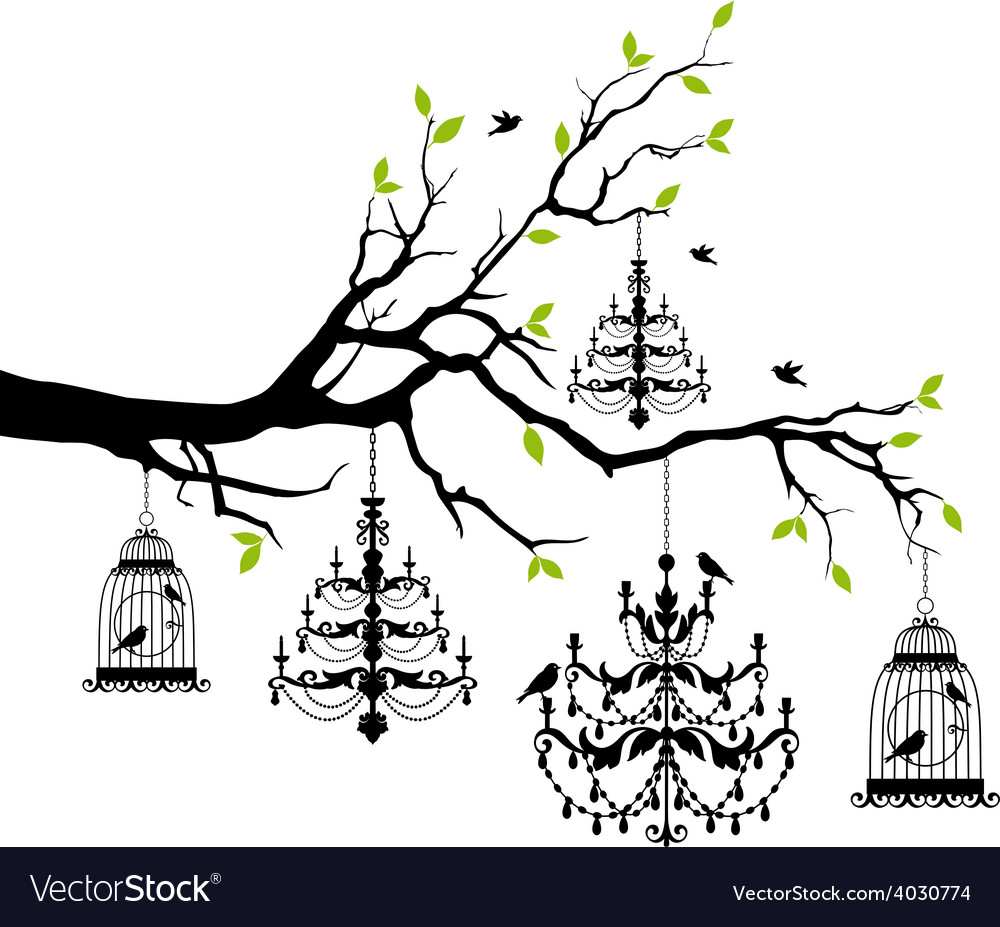 Tree with chandelier and birdcage vector | Price: 1 Credit (USD $1)