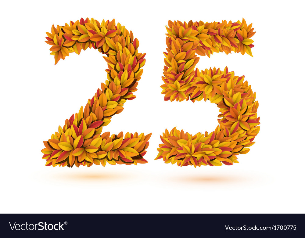 25 number of autumn fall bright orange leaves vector | Price: 1 Credit (USD $1)
