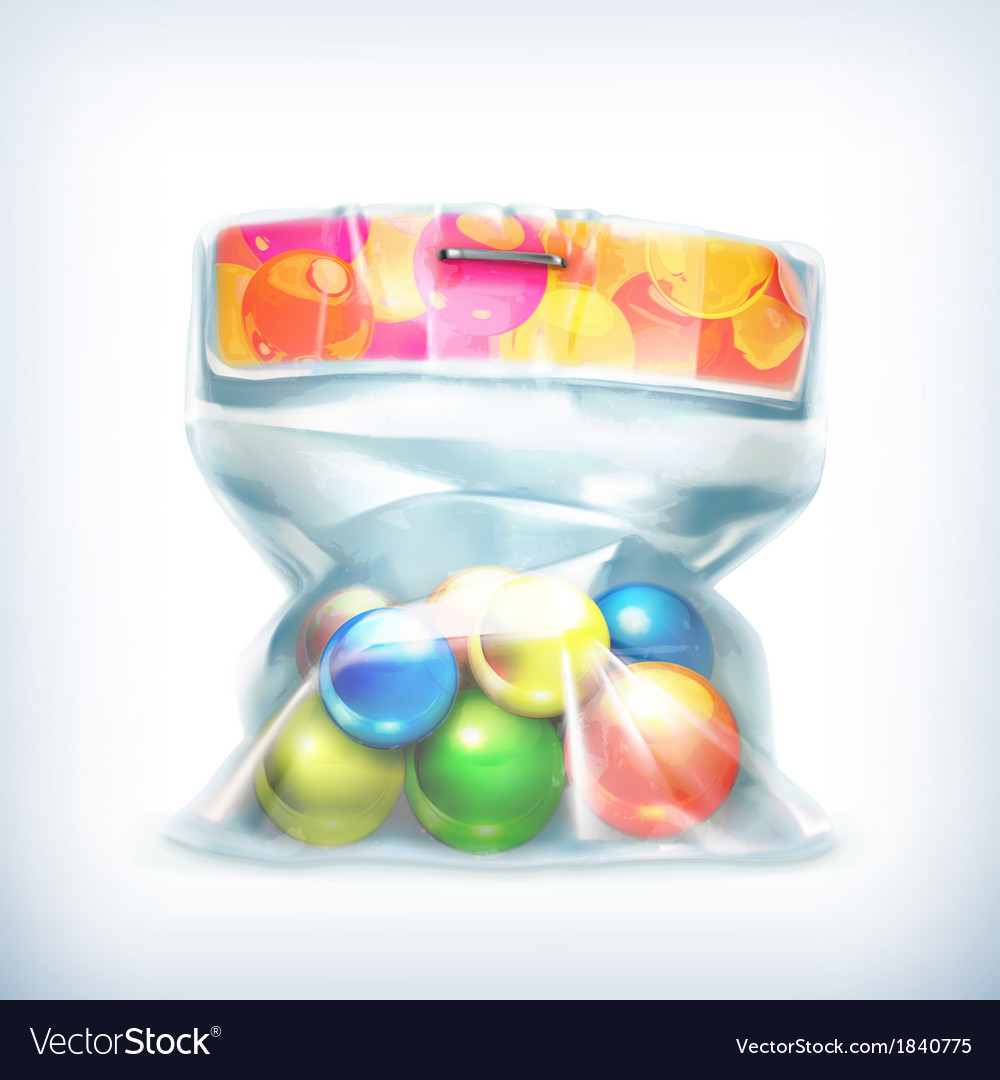 Balls in small plastic bag icon vector | Price: 1 Credit (USD $1)