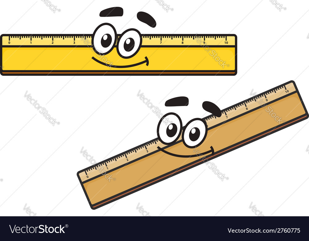 Cartoon long school ruler vector | Price: 1 Credit (USD $1)