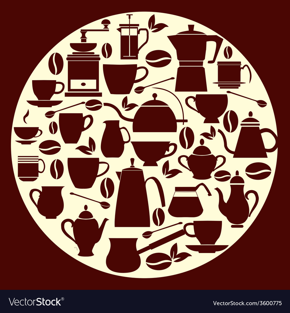 Coffe house coffee silhouette pots with cups vector | Price: 1 Credit (USD $1)