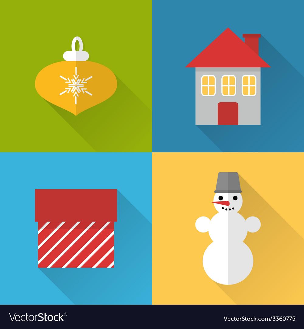 Flat christmas icons set vector | Price: 1 Credit (USD $1)