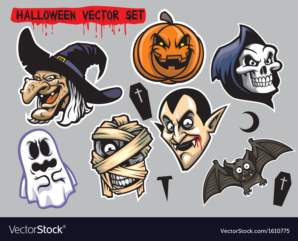 Halloween character set vector | Price: 1 Credit (USD $1)