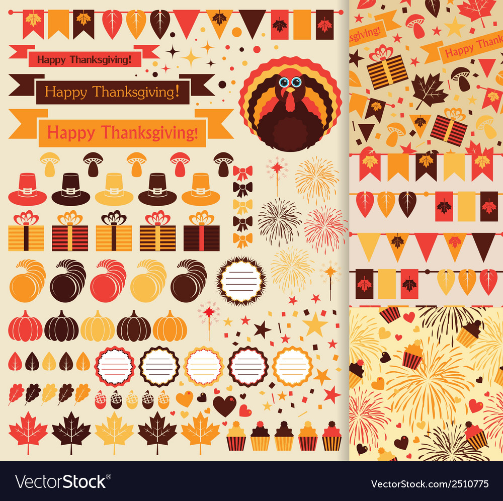 Happy thanksgiving set vector | Price: 1 Credit (USD $1)