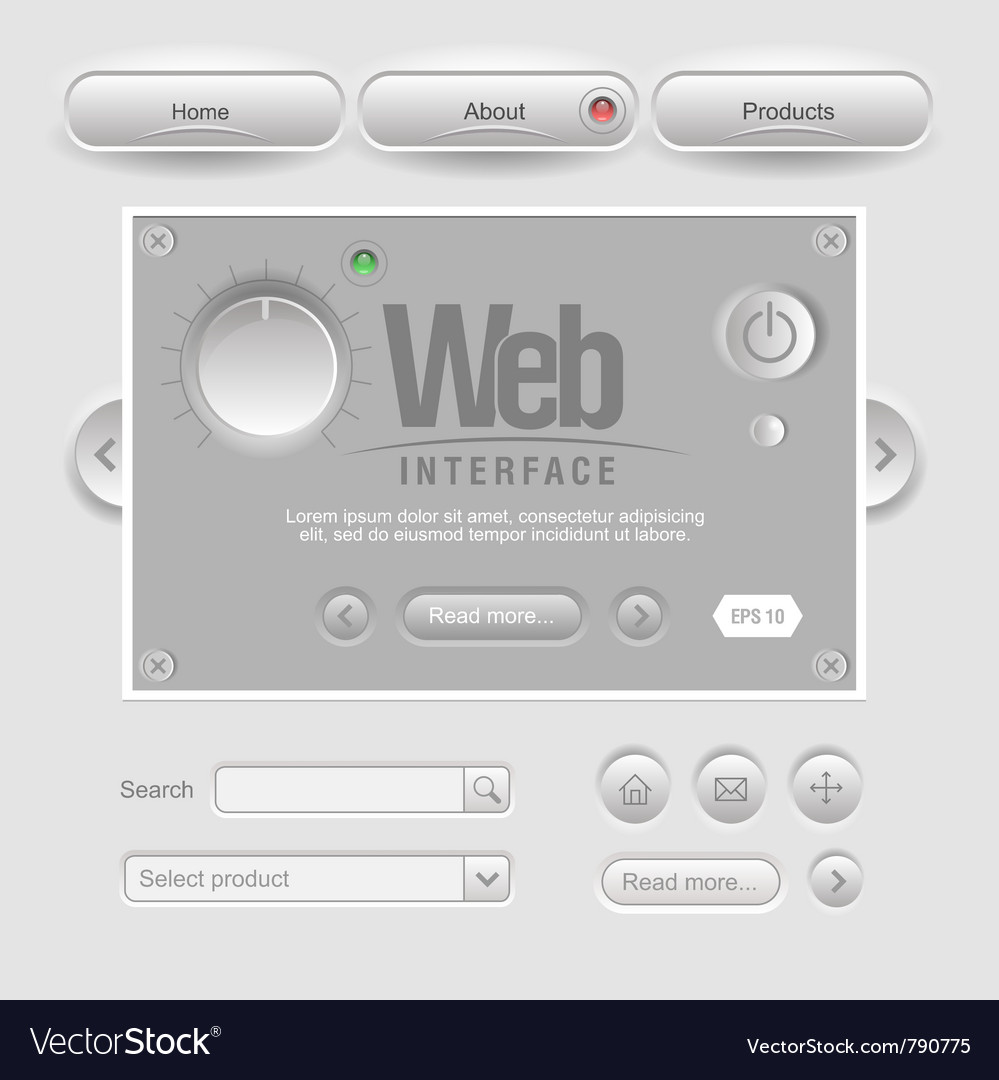 Light web ui elements design gray vector | Price: 1 Credit (USD $1)