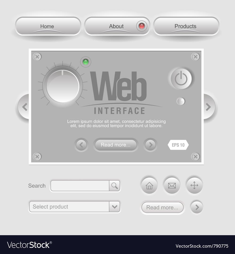 Light web ui elements design gray vector | Price: 1 Credit (USD $1)