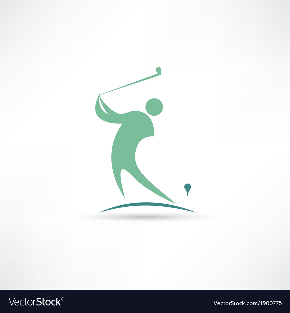 Man playing golf icon vector | Price: 1 Credit (USD $1)