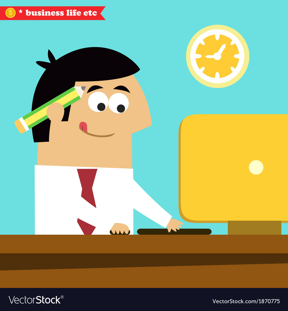 Manager working diligently on the computer vector | Price: 1 Credit (USD $1)