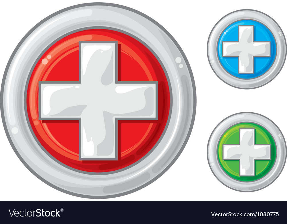 Medical sign button first aid vector | Price: 1 Credit (USD $1)