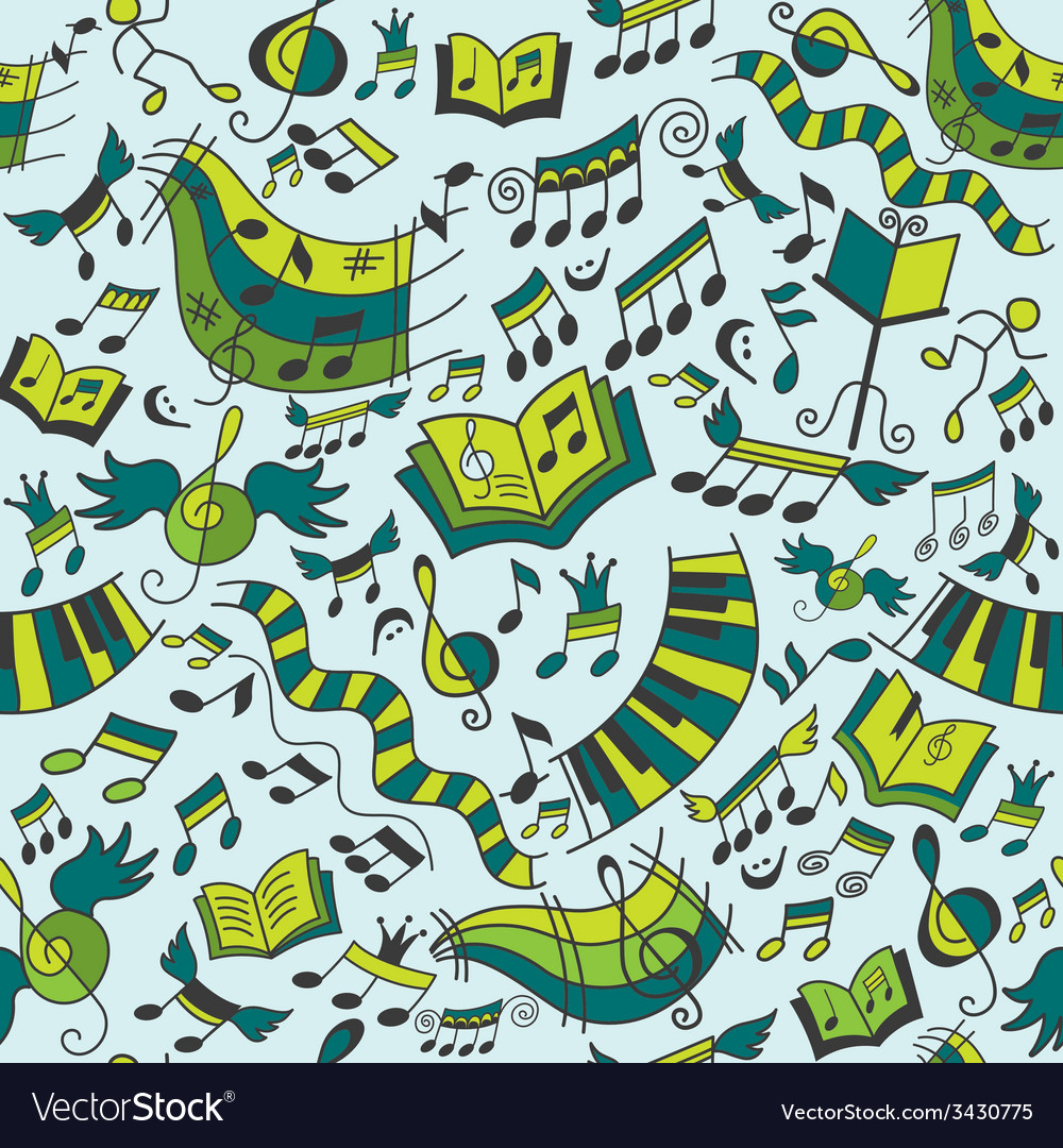 Musical seamless pattern with doodles design eleme vector | Price: 1 Credit (USD $1)