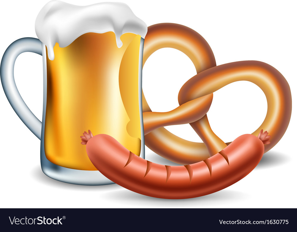 Oktoberfest food beer sausage and pretzel vector | Price: 1 Credit (USD $1)