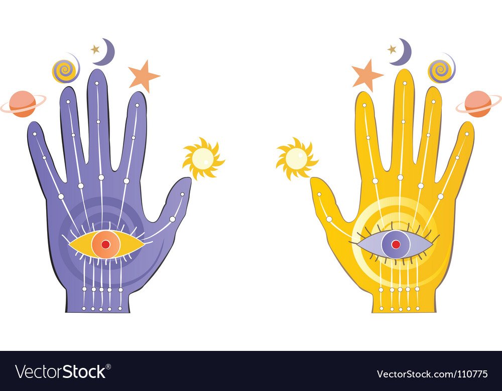 Palms with psychic symbols vector