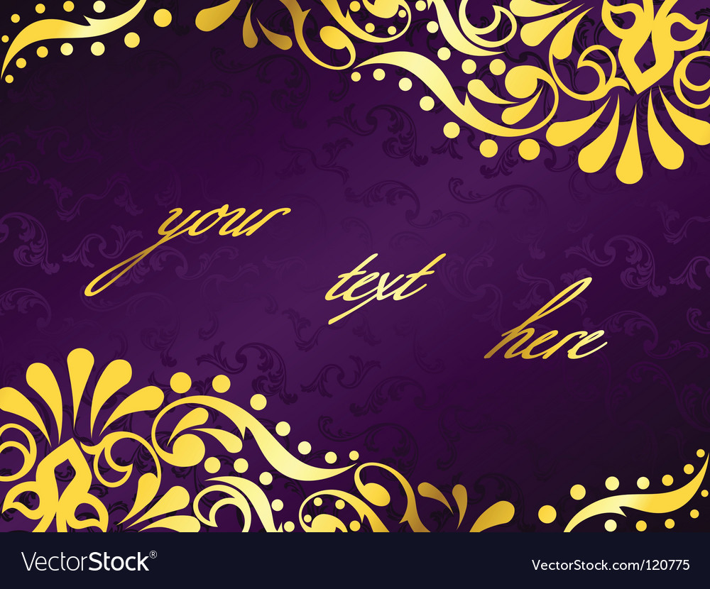 Purple background with gold filigree vector | Price: 1 Credit (USD $1)